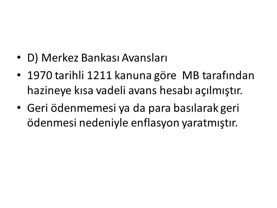 D) Merkez Bankası Avansları