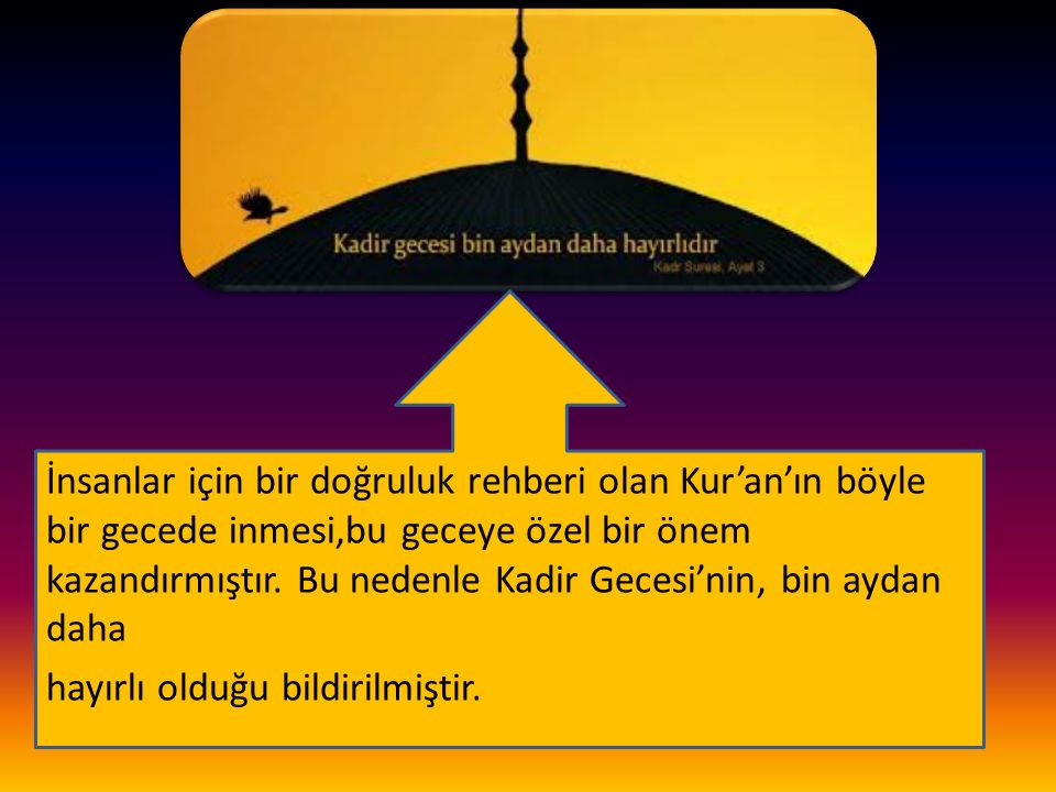 İnsanlar için bir doğruluk rehberi olan Kur'an'ın böyle bir gecede inmesi,bu geceye özel bir önem kazandırmıştır. Bu nedenle Kadir Gecesi'nin, bin aydan daha