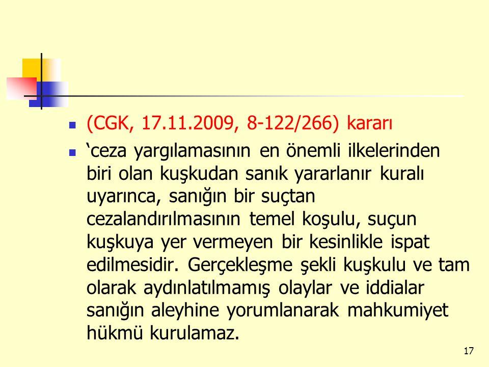 (CGK, 17.11.2009, 8-122/266) kararı