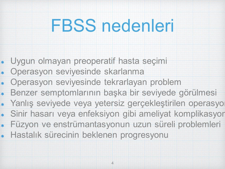 FBSS nedenleri Uygun olmayan preoperatif hasta seçimi