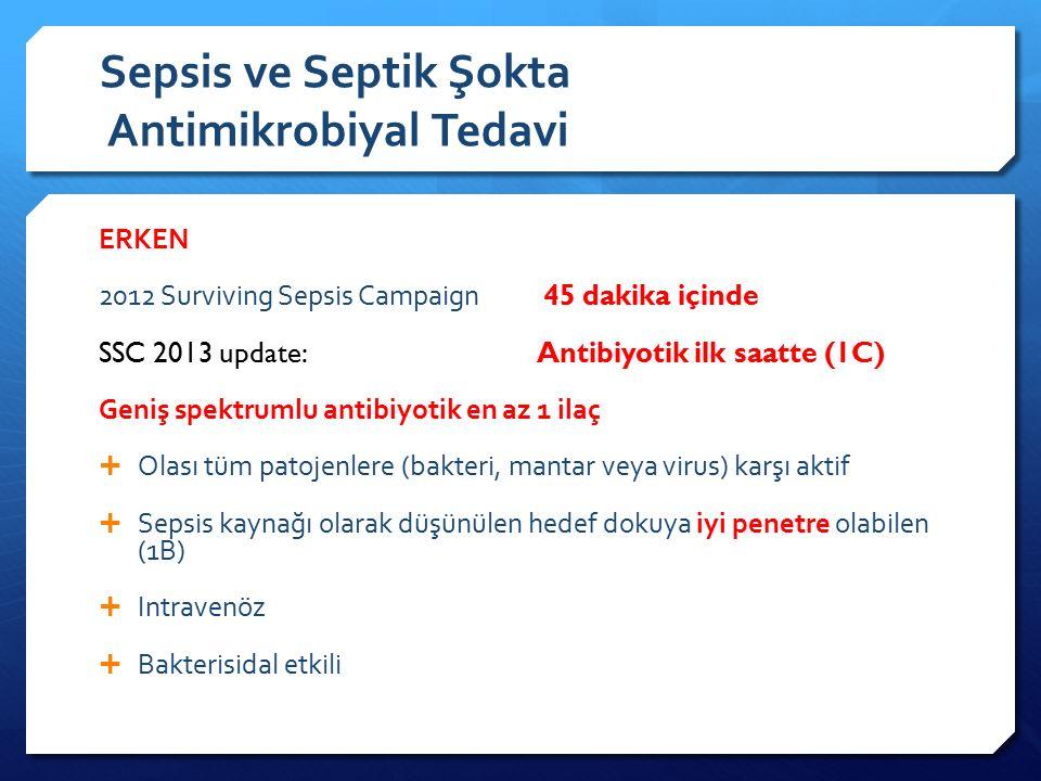 Sepsis ve Septik Şokta Antimikrobiyal Tedavi