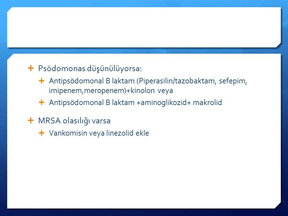 Psödomonas düşünülüyorsa: