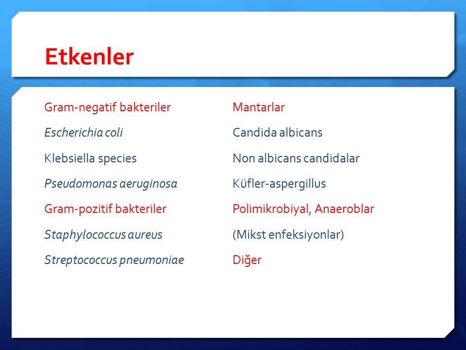 Etkenler Gram-negatif bakteriler Mantarlar Escherichia coli