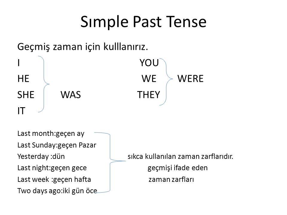 Sımple Past Tense Geçmiş zaman için kulllanırız. I YOU HE WE WERE