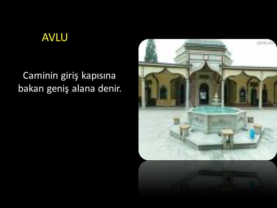 AVLU Caminin giriş kapısına bakan geniş alana denir.