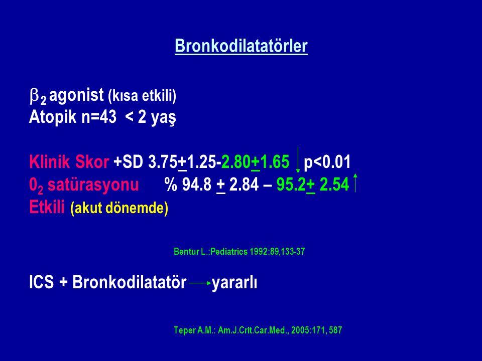 Bronkodilatatörler b2 agonist (kısa etkili) Atopik n=43 < 2 yaş. Klinik Skor +SD 3.75+1.25-2.80+1.65 p<0.01.