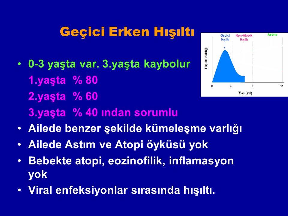 Geçici Erken Hışıltı 0-3 yaşta var. 3.yaşta kaybolur 1.yaşta % 80
