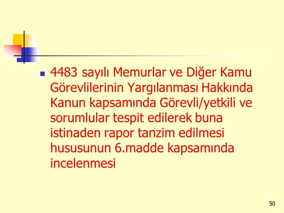 4483 sayılı Memurlar ve Diğer Kamu Görevlilerinin Yargılanması Hakkında Kanun kapsamında Görevli/yetkili ve sorumlular tespit edilerek buna istinaden rapor tanzim edilmesi hususunun 6.madde kapsamında incelenmesi
