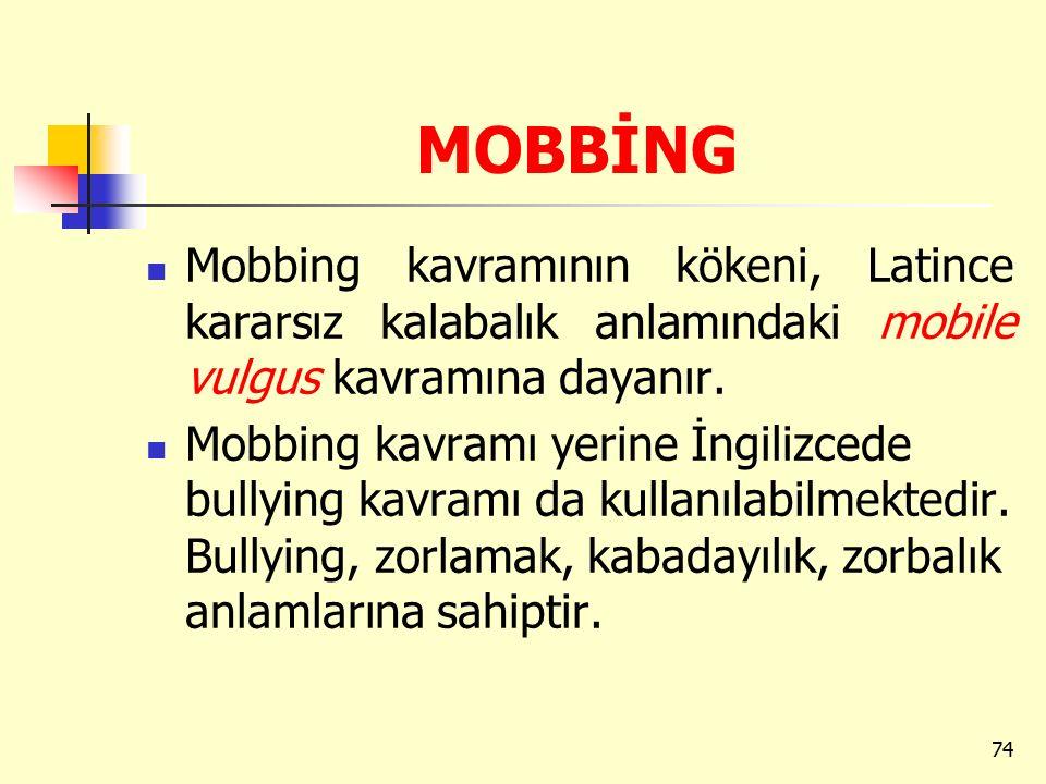 MOBBİNG Mobbing kavramının kökeni, Latince kararsız kalabalık anlamındaki mobile vulgus kavramına dayanır.