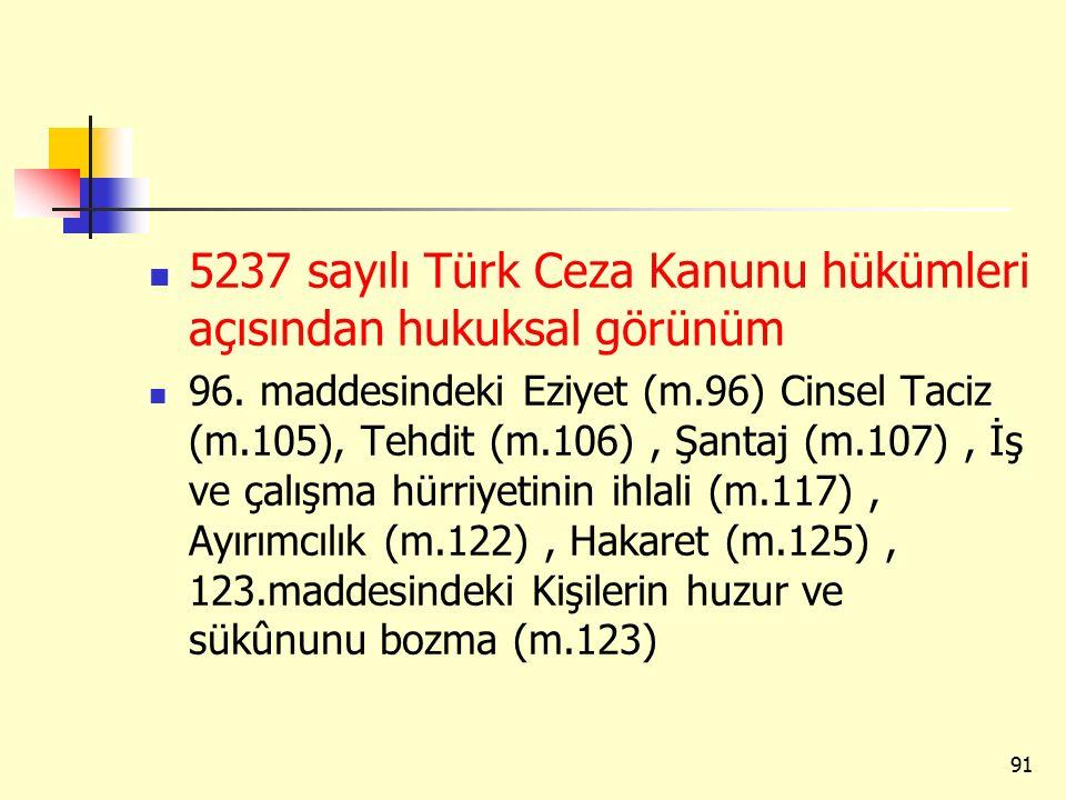 5237 sayılı Türk Ceza Kanunu hükümleri açısından hukuksal görünüm
