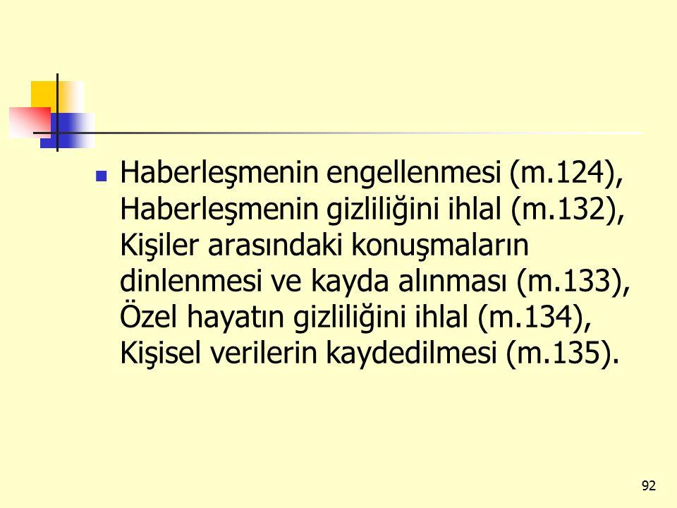 Haberleşmenin engellenmesi (m.124), Haberleşmenin gizliliğini ihlal (m.132), Kişiler arasındaki konuşmaların dinlenmesi ve kayda alınması (m.133), Özel hayatın gizliliğini ihlal (m.134), Kişisel verilerin kaydedilmesi (m.135).