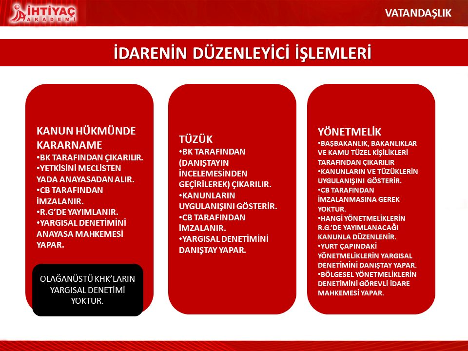 OLAĞANÜSTÜ KHK'LARIN YARGISAL DENETİMİ YOKTUR.