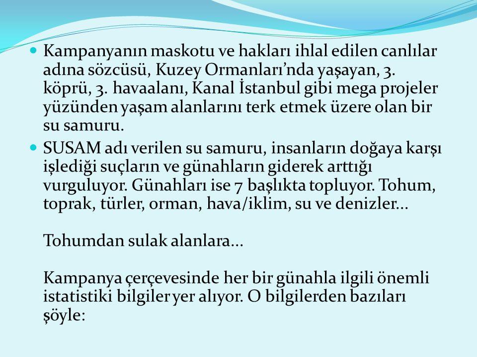 Kampanyanın maskotu ve hakları ihlal edilen canlılar adına sözcüsü, Kuzey Ormanları'nda yaşayan, 3. köprü, 3. havaalanı, Kanal İstanbul gibi mega projeler yüzünden yaşam alanlarını terk etmek üzere olan bir su samuru.