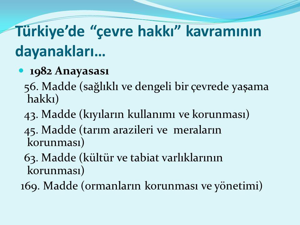 Türkiye'de çevre hakkı kavramının dayanakları…