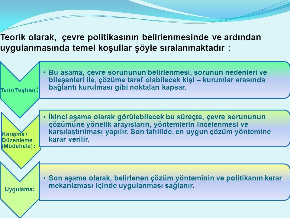 Teorik olarak, çevre politikasının belirlenmesinde ve ardından uygulanmasında temel koşullar şöyle sıralanmaktadır :