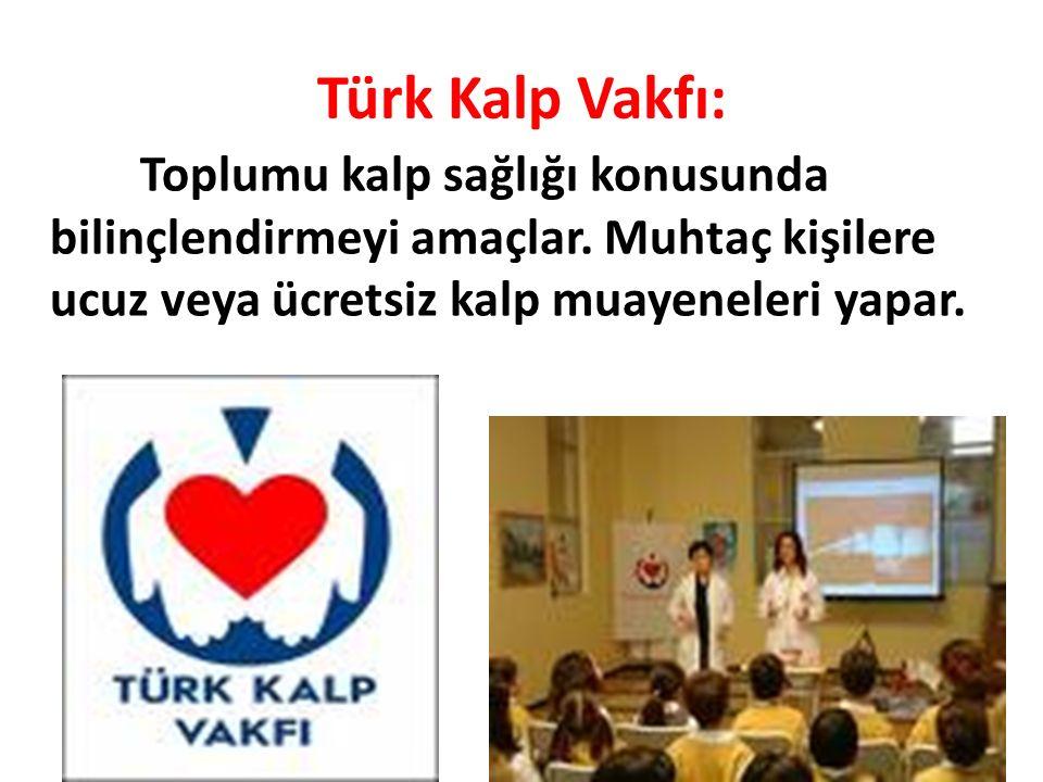 Türk Kalp Vakfı: Toplumu kalp sağlığı konusunda bilinçlendirmeyi amaçlar. Muhtaç kişilere ucuz veya ücretsiz kalp muayeneleri yapar.