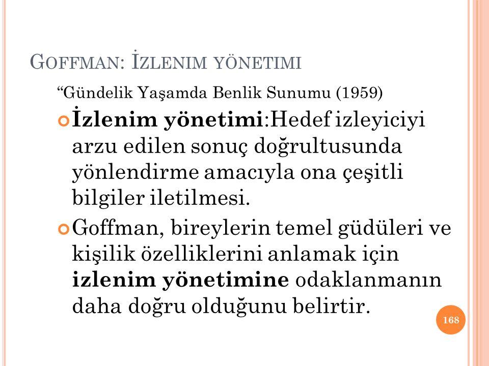 Goffman: İzlenim yönetimi