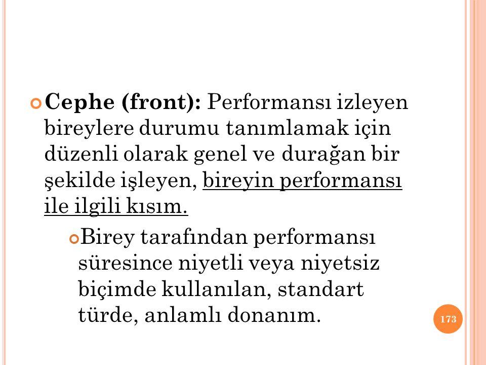 Cephe (front): Performansı izleyen bireylere durumu tanımlamak için düzenli olarak genel ve durağan bir şekilde işleyen, bireyin performansı ile ilgili kısım.