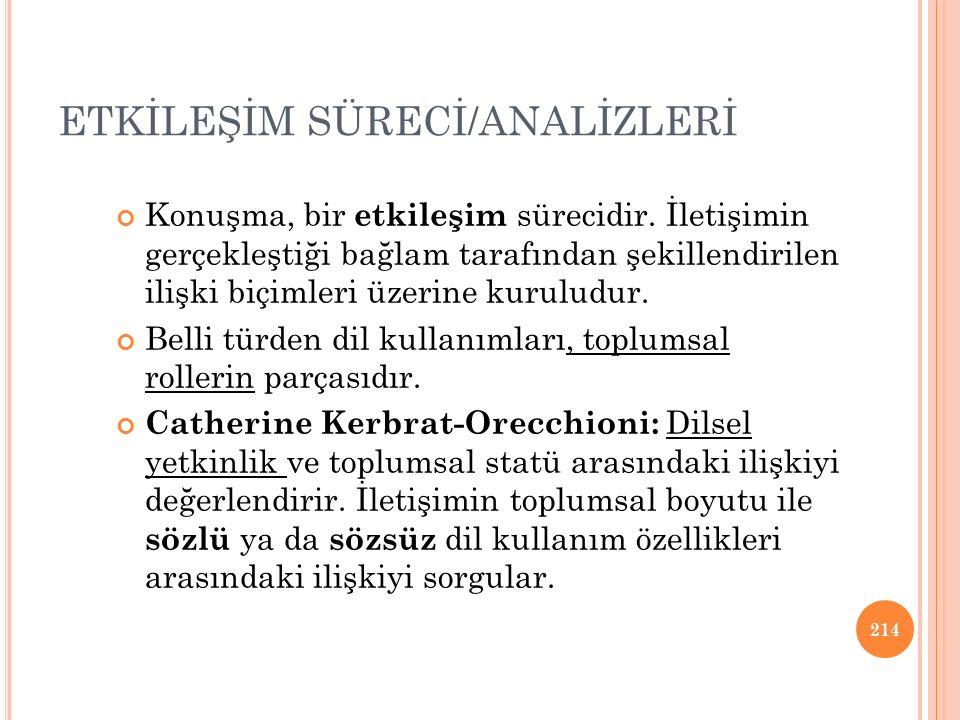 ETKİLEŞİM SÜRECİ/ANALİZLERİ