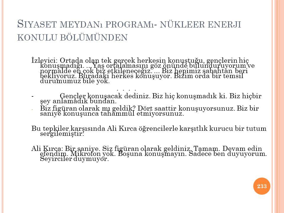 Siyaset meydanı programı- nükleer enerji konulu bölümünden