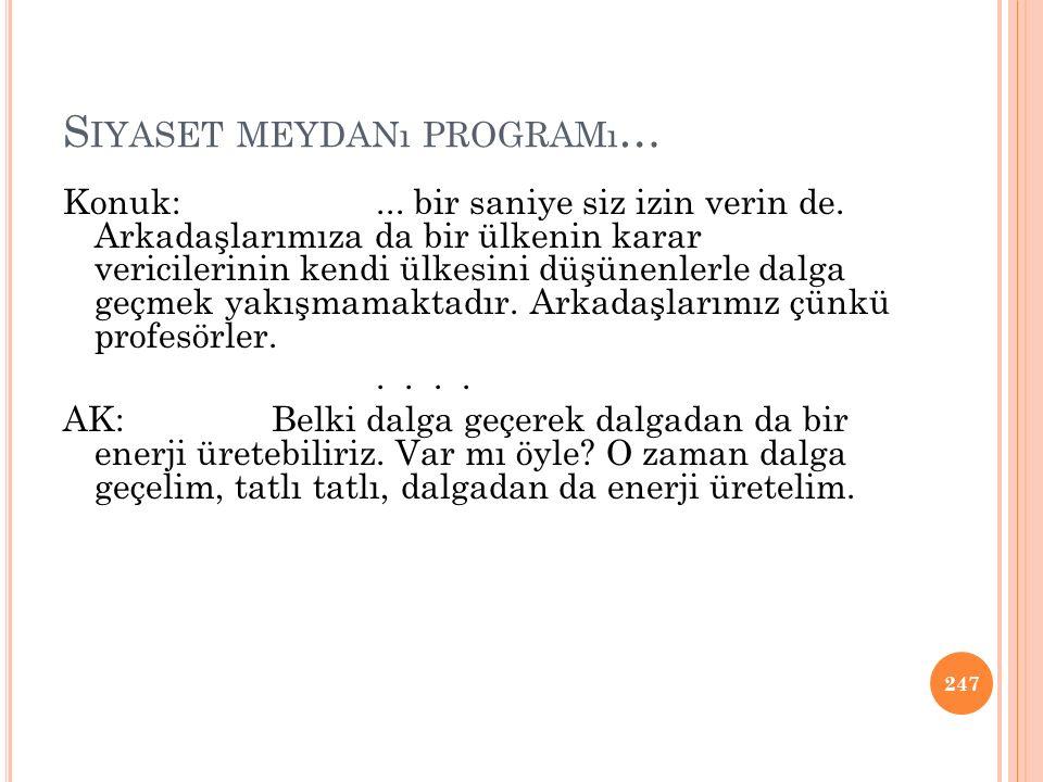 Siyaset meydanı programı…