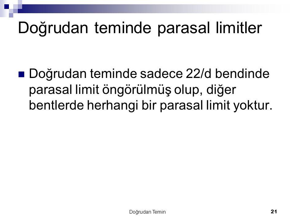 Doğrudan teminde parasal limitler