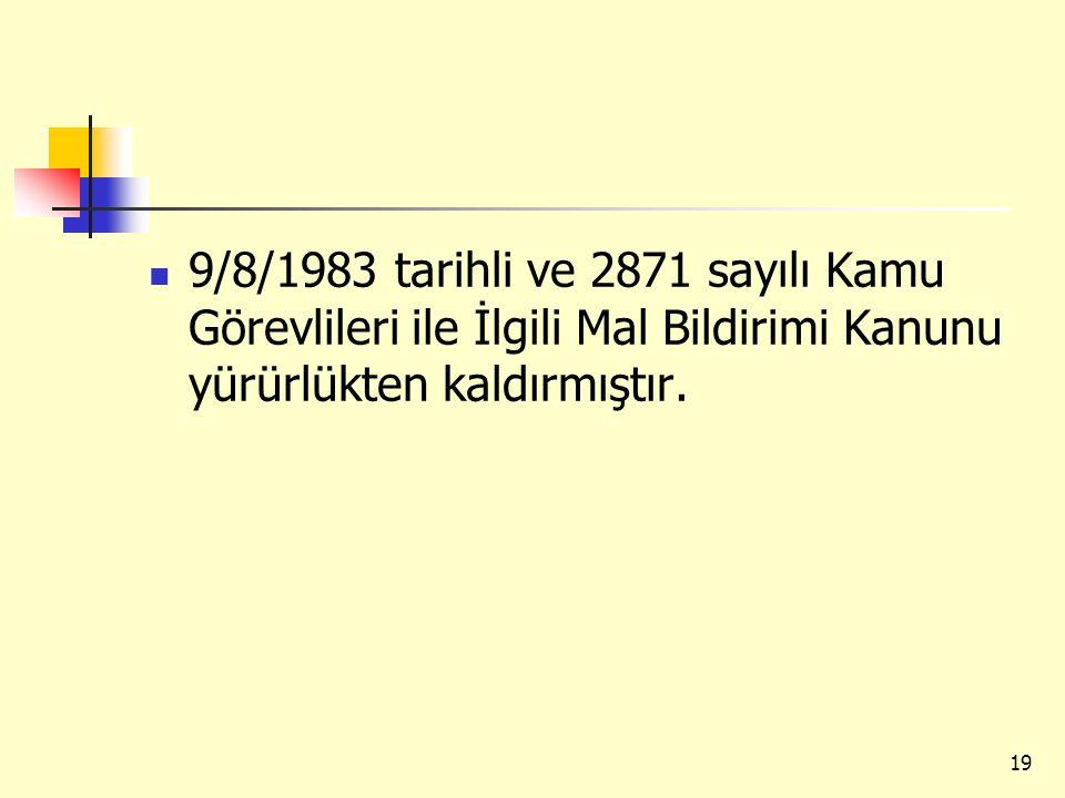 9/8/1983 tarihli ve 2871 sayılı Kamu Görevlileri ile İlgili Mal Bildirimi Kanunu yürürlükten kaldırmıştır.