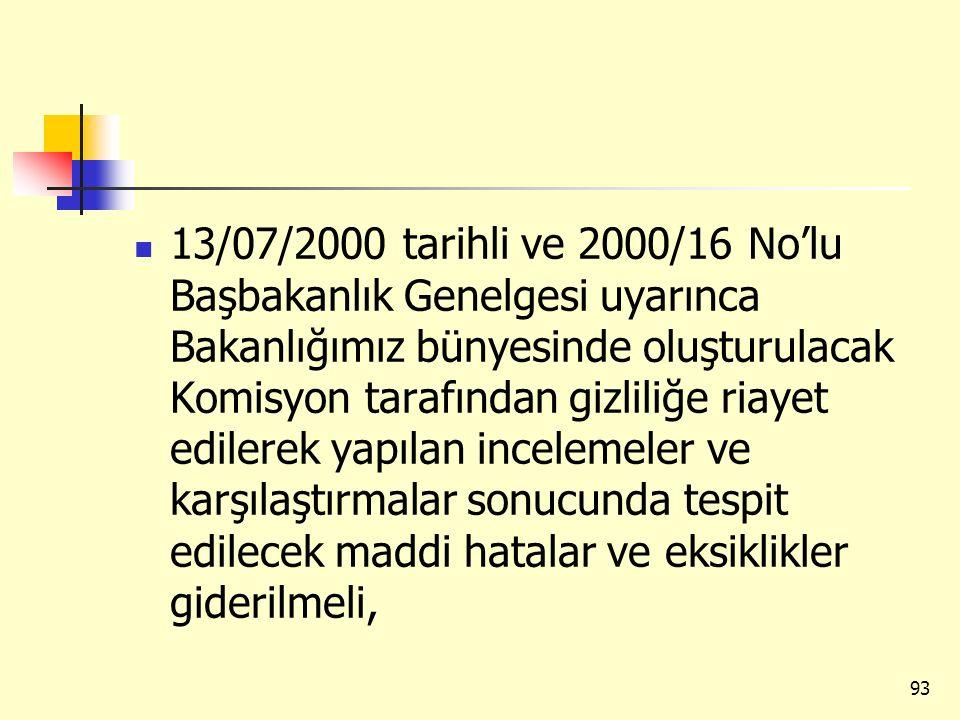 13/07/2000 tarihli ve 2000/16 No'lu Başbakanlık Genelgesi uyarınca Bakanlığımız bünyesinde oluşturulacak Komisyon tarafından gizliliğe riayet edilerek yapılan incelemeler ve karşılaştırmalar sonucunda tespit edilecek maddi hatalar ve eksiklikler giderilmeli,