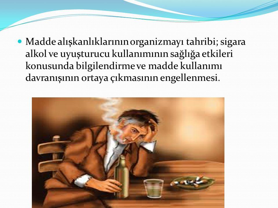 Madde alışkanlıklarının organizmayı tahribi; sigara alkol ve uyuşturucu kullanımının sağlığa etkileri konusunda bilgilendirme ve madde kullanımı davranışının ortaya çıkmasının engellenmesi.