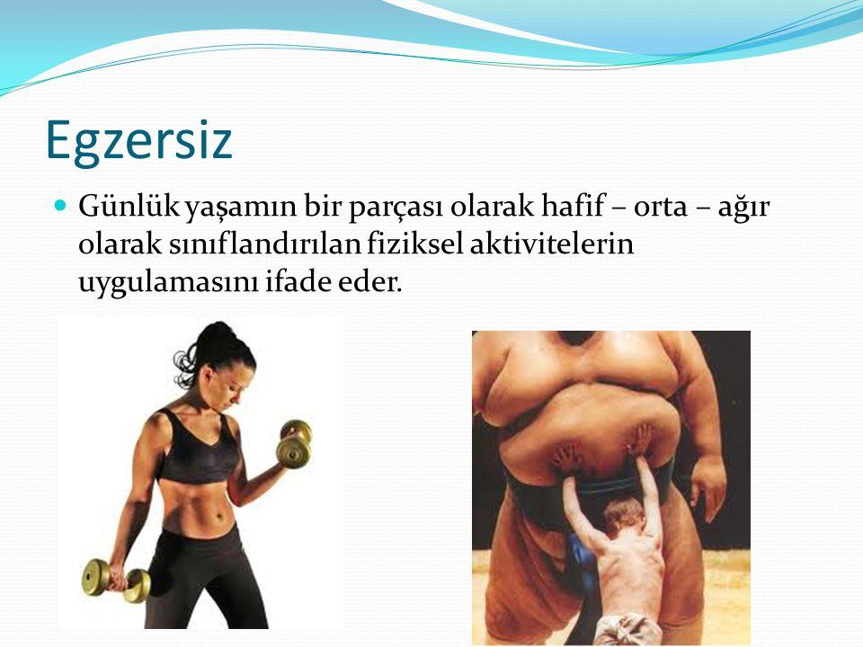 Egzersiz Günlük yaşamın bir parçası olarak hafif – orta – ağır olarak sınıflandırılan fiziksel aktivitelerin uygulamasını ifade eder.