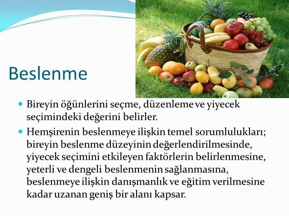 Beslenme Bireyin öğünlerini seçme, düzenleme ve yiyecek seçimindeki değerini belirler.