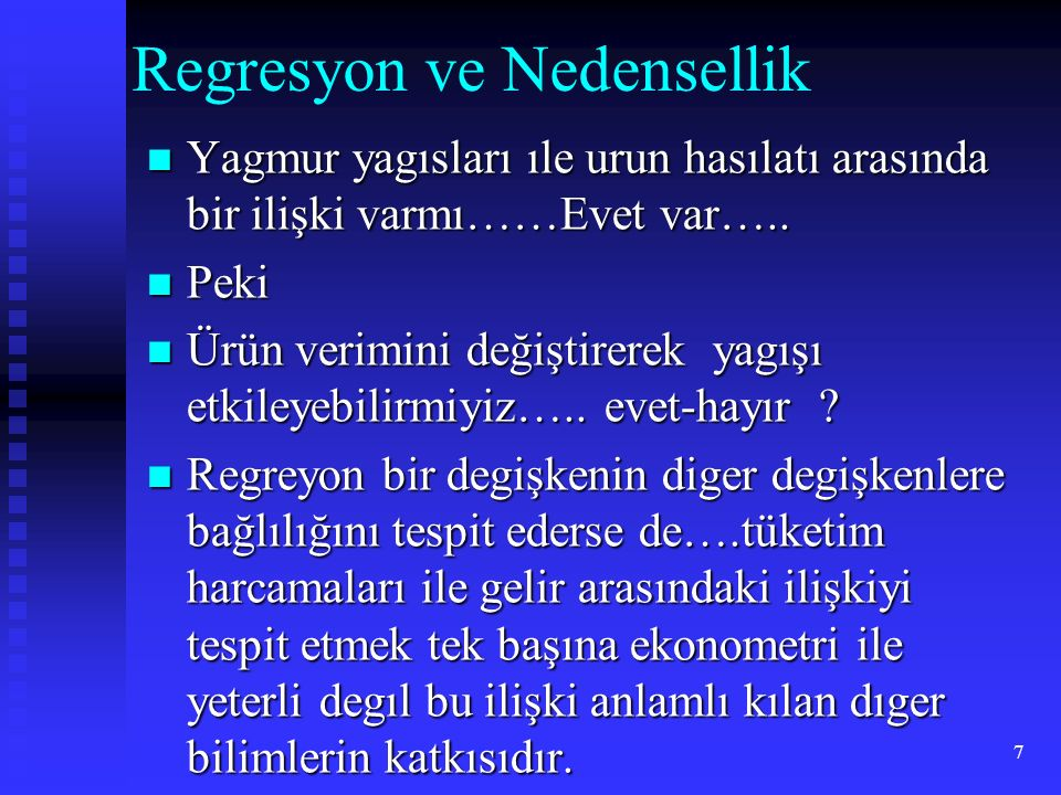 Regresyon ve Nedensellik