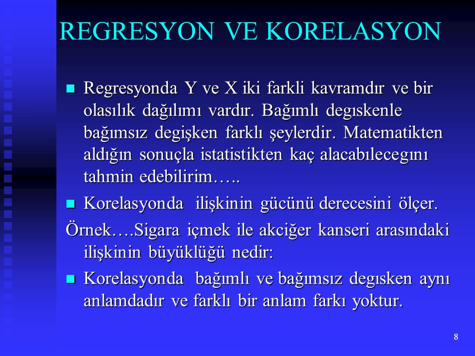 REGRESYON VE KORELASYON