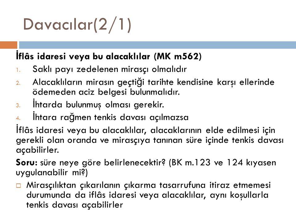Davacılar(2/1) İflâs idaresi veya bu alacaklılar (MK m562)