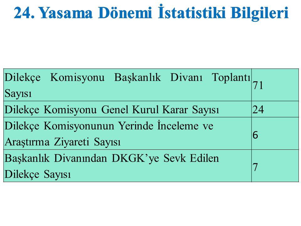 24. Yasama Dönemi İstatistiki Bilgileri