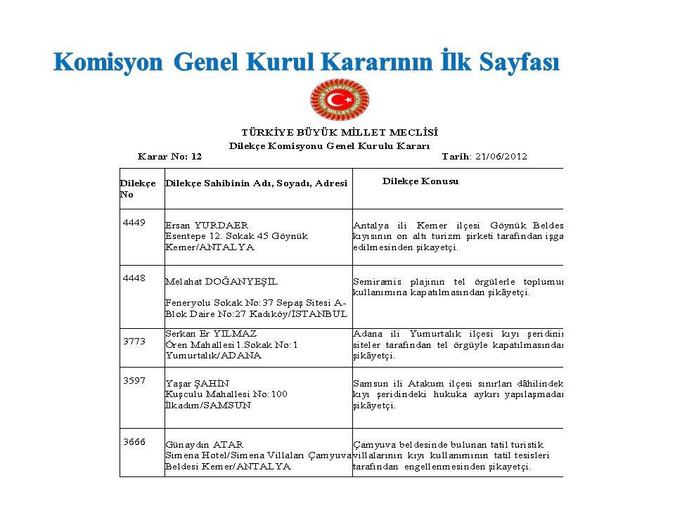 Komisyon Genel Kurul Kararının İlk Sayfası