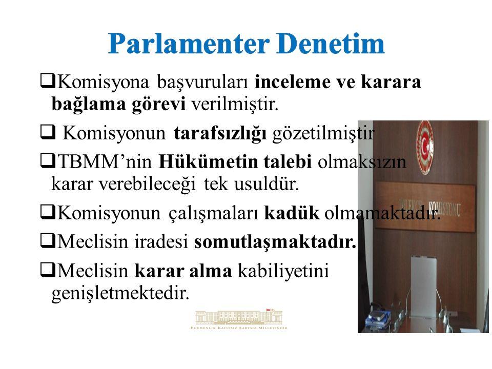 Parlamenter Denetim Komisyona başvuruları inceleme ve karara bağlama görevi verilmiştir. Komisyonun tarafsızlığı gözetilmiştir.