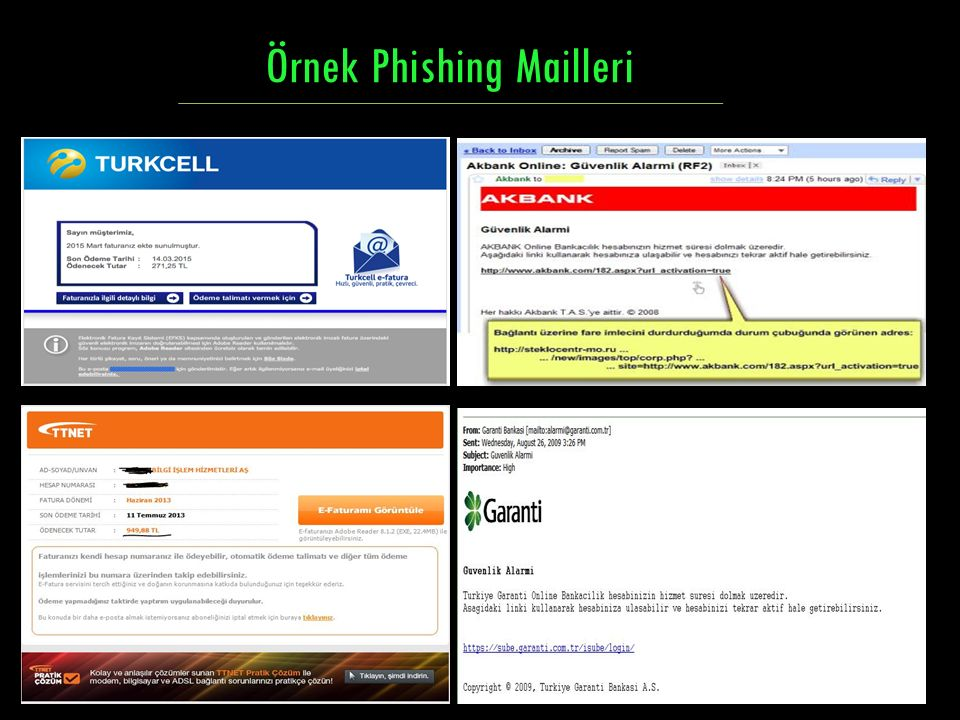Örnek Phishing Mailleri