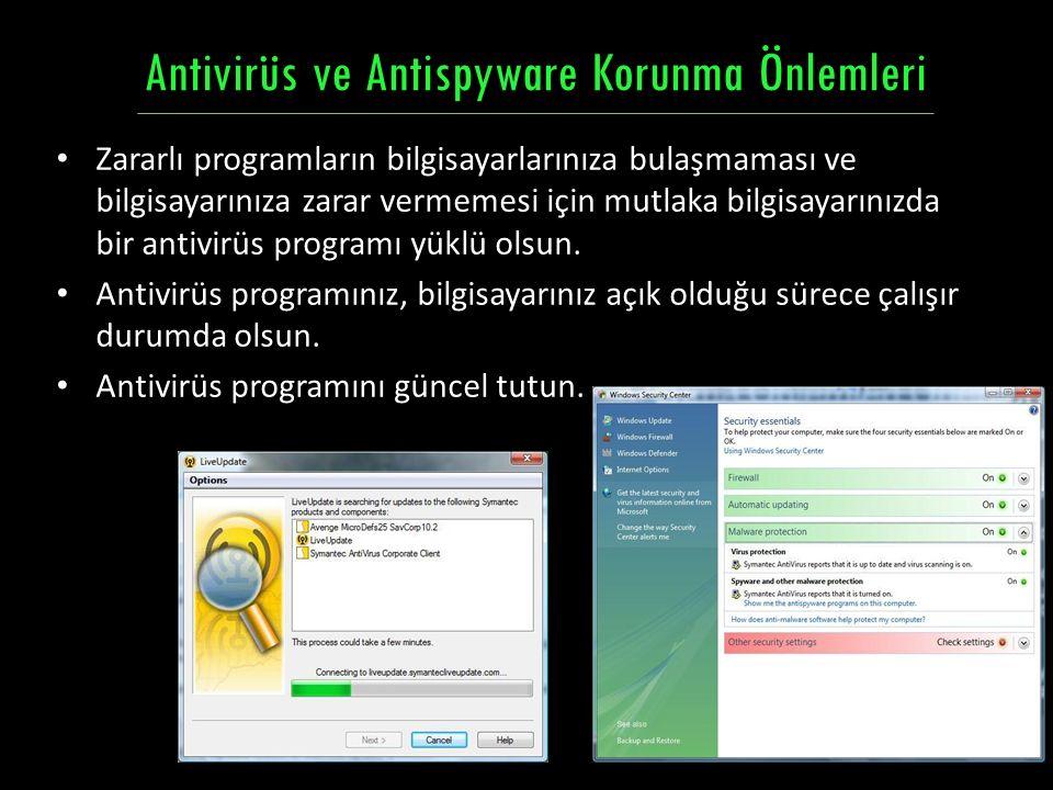 Antivirüs ve Antispyware Korunma Önlemleri