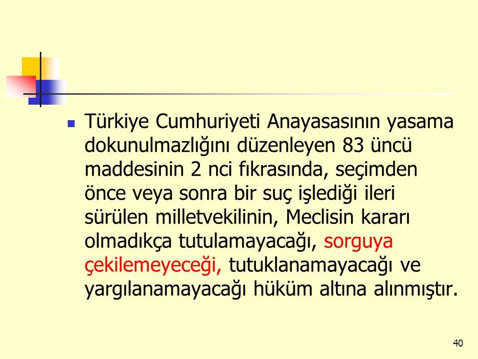 Türkiye Cumhuriyeti Anayasasının yasama dokunulmazlığını düzenleyen 83 üncü maddesinin 2 nci fıkrasında, seçimden önce veya sonra bir suç işlediği ileri sürülen milletvekilinin, Meclisin kararı olmadıkça tutulamayacağı, sorguya çekilemeyeceği, tutuklanamayacağı ve yargılanamayacağı hüküm altına alınmıştır.