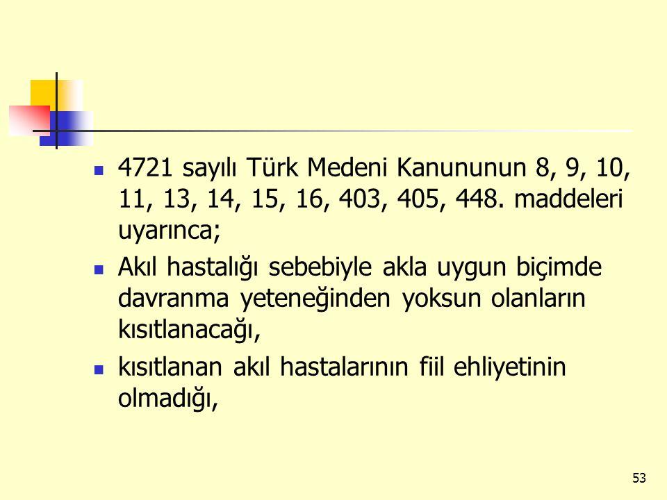 4721 sayılı Türk Medeni Kanununun 8, 9, 10, 11, 13, 14, 15, 16, 403, 405, 448. maddeleri uyarınca;