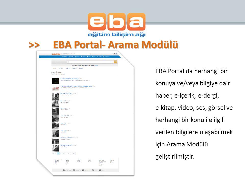 >> EBA Portal- Arama Modülü