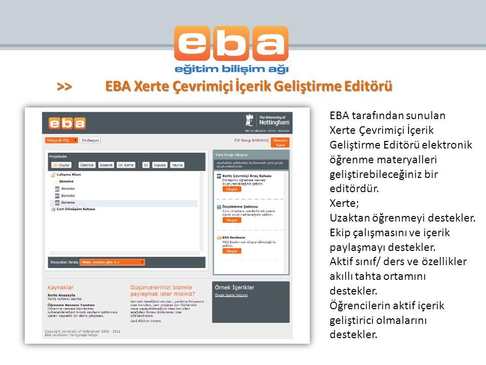 >> EBA Xerte Çevrimiçi İçerik Geliştirme Editörü