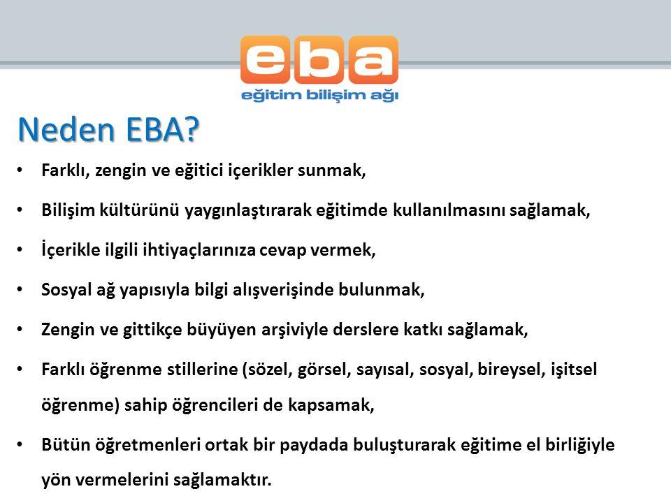 Neden EBA Farklı, zengin ve eğitici içerikler sunmak,