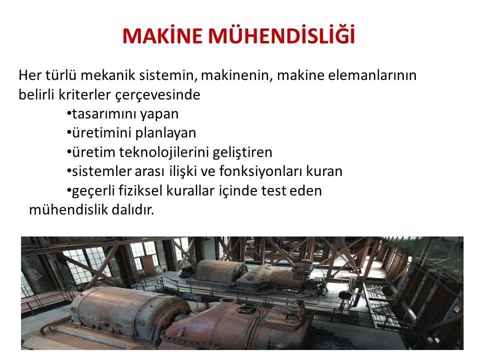 MAKİNE MÜHENDİSLİĞİ Her türlü mekanik sistemin, makinenin, makine elemanlarının belirli kriterler çerçevesinde.