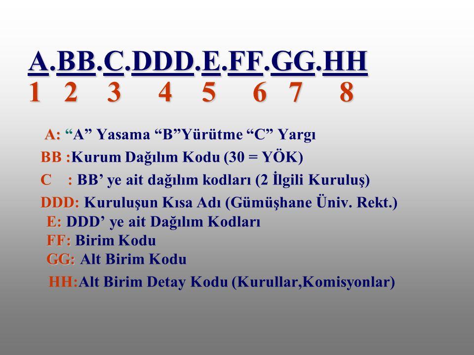 A.BB.C.DDD.E.FF.GG.HH 1 2 3 4 5 6 7 8 A: A Yasama B Yürütme C Yargı.