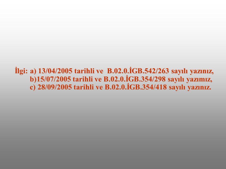 İlgi: a) 13/04/2005 tarihli ve B. 02. İGB