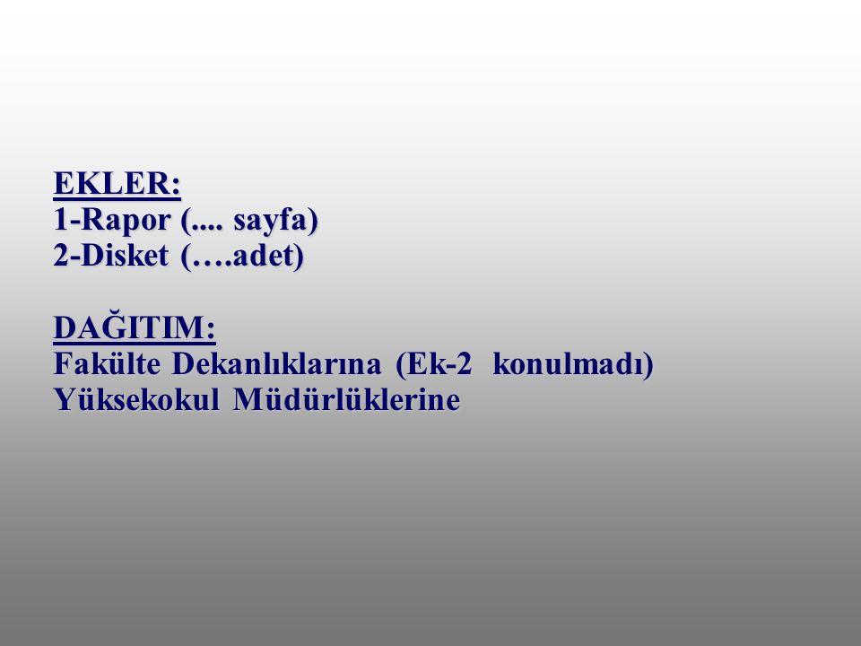 EKLER: 1-Rapor (. sayfa) 2-Disket (…