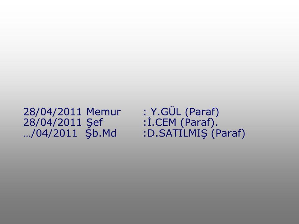 28/04/2011 Memur. : Y. GÜL (Paraf) 28/04/2011 Şef. :İ. CEM (Paraf)