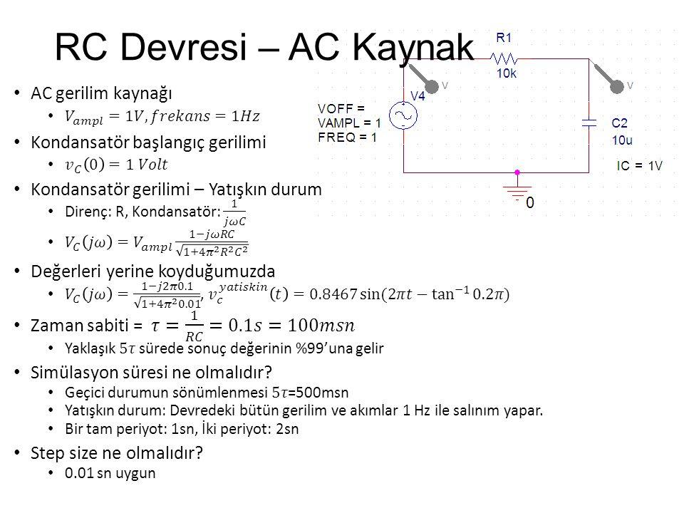 RC Devresi – AC Kaynak AC gerilim kaynağı